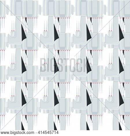 Abstract Seamless Medical Pipette, Dropper For Laboratory On White Background. Pattern Dropper Consi