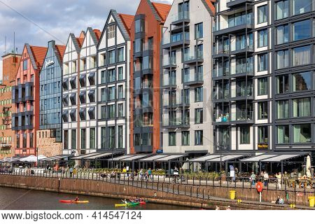 Gdansk, Poland - Sept 9, 2020: Modern Architecture Of The Granaries Island In Old Town Of Gdansk. Po