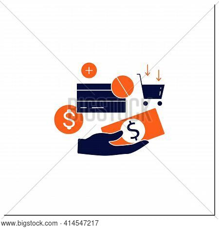Use Cash Glyph Icon. Pay Purchases In Cash. Hand Holds Money. Dont Use Credit Card.mindful Spending
