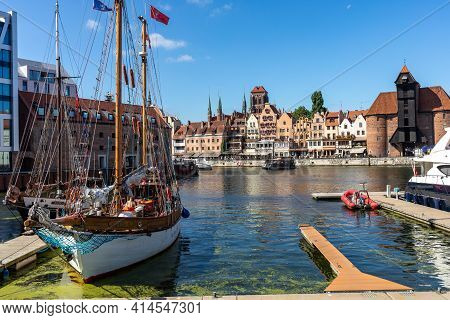 Gdansk, Poland - September 9, 2020: Old Town Of Gdansk In Poland, Europe, View From The City Marina