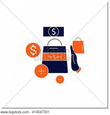 Not Impulsive Shopping Glyph Icon. Avoiding Impulse Buying.thoughtful Spending Money. Purchase Only