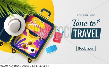 Time To Travel. Summer Vacation Flat Lay Vector Illustration. Open Suitcase With Stuff, Protective F