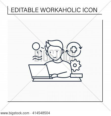 Workaholic Line Icon. Workaholism Prevention.conduct Rules. Reasonable Time Allocation. Overworking