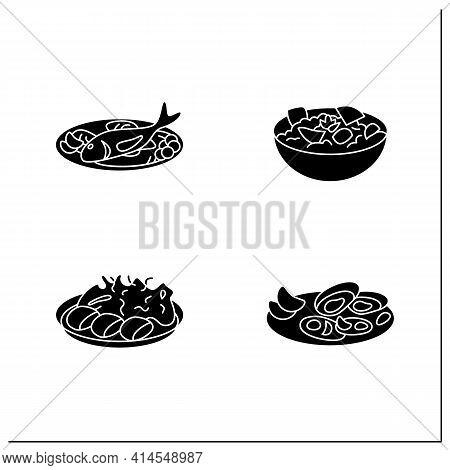 Japanese Food Glyph Icons. Spring Delicates. Asari Clams, Spring Cabbage, Takenoko, Tai. Tradition M