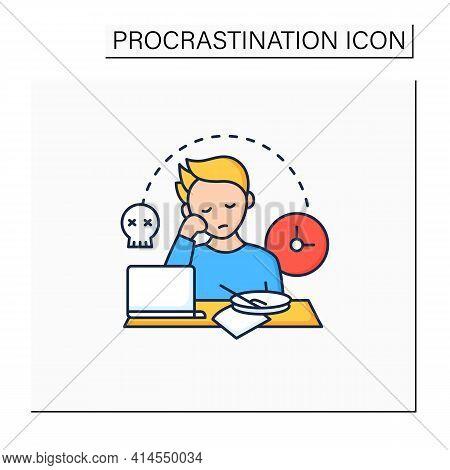 Laziness Color Icon.postpone Unpleasant Tasks For Later.delay. Lazy Person. Procrastination Concept.