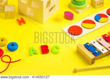 Development Toys Wooden Puzzle, Blocks And Sorter. Educational Games. Activity For Kids. Child Devel