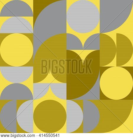 Abstract Background Pattern, Bauhaus Style, Circle, Semicircle, Square Shape. Trend Color 2021 Yello