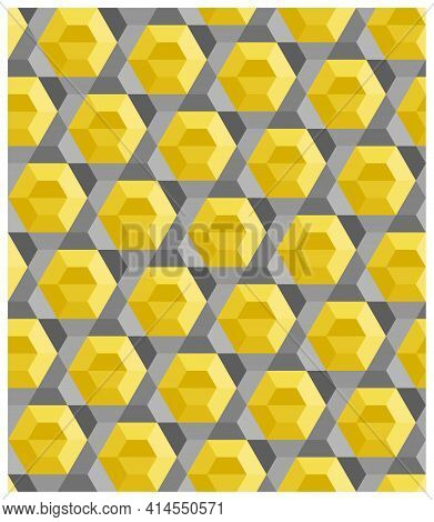 Seamless Abstract Background, Yellow Hexagon Pattern, Gray Hexagram Star. Color Trend Of 2021. Textu