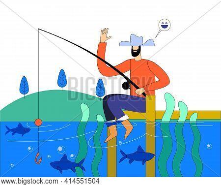 Man Fishing In Natural River Side Illustration Concept Vector