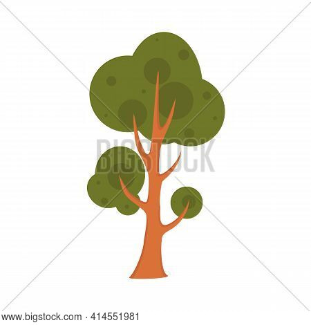 Green Colorful Tree Isolated On White Background. Stylized Deciduous Or Coniferous Tree As An Elemen