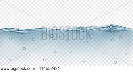 Translucent Water In Gray Colors With Air Bubbles, Isolated On Transparent Background. Transparency