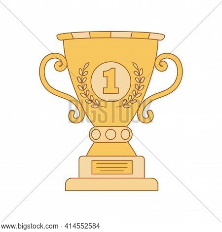 First Place Golden Cup Trophy Vector Cartoon Outline Illustration Isolated On White Background. Yell
