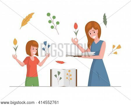 Mother And Her Daughter Collecting Dried Flowers And Herbs Vector Flat Illustration. Twigs And Leave