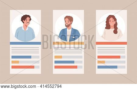 Election Results Vector Flat Illustration. Profiles With Political Candidates And Vote Statistics. P