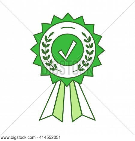 Achievement Green Medal With Ribbons And Check Mark Vector Cartoon Outline Illustration. Prize For W