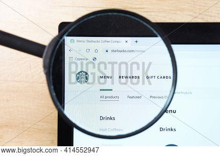 Richmond, Virginia, Usa - 7 January 2021: Editorial Of Starbucks Website Homepage. Starbucks Logo Vi