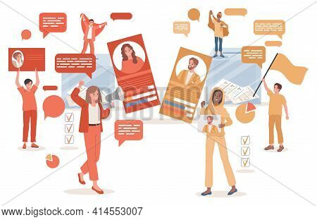 Young Women And Men Holding Placards With Political Candidates And Call To Vote Vector Flat Illustra