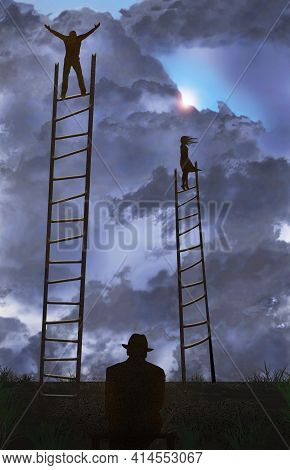 A Man And A Woman Stand On Tall Ladders In A Field Under A Cloudy Sky As They Search For Something I