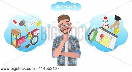 Vector Conceptual Illustration Of Seo Vs Sem.