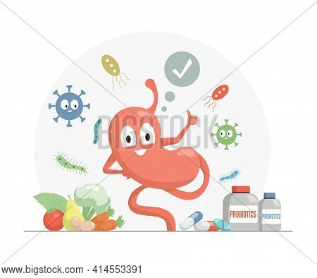 Happy Stomach Showing Thumbs Up Vector Flat Cartoon Illustration. Vitamins, Supplements, And Mineral