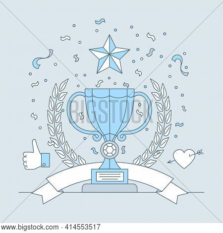 Best Place Trophy With Star Sign Vector Cartoon Outline Illustration. Cup On Pedestal With Laurel Wr