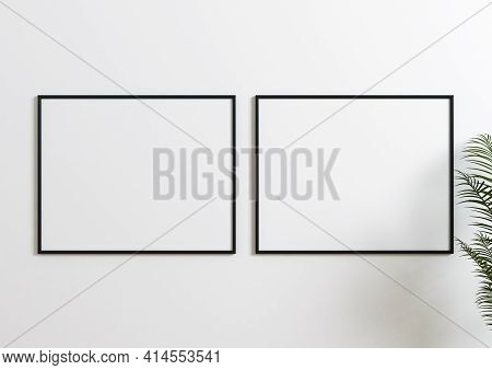 Double Black Frame Mockup With Green Plant And White Wall Behind It. Empty Poster Two Frame Mockup W