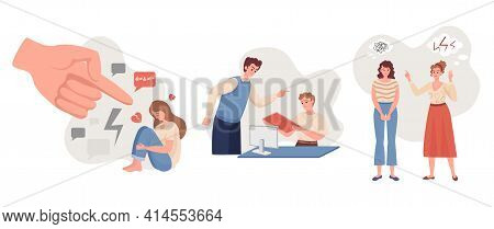 Emotional Abuse Vector Flat Illustration. Depressive Woman Sitting And Crying Against Pointing Hand,