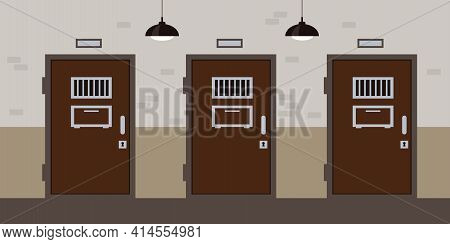 Prison Corridor With Cell Doors. Jail Interior.