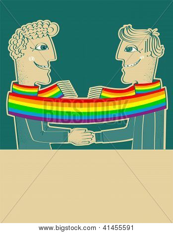 Happy Gays Couple With Hands Together.vector Background For Text