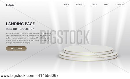 Landing Page Website Template With Round Scene For Product. Podium In White Background With Gold Lin