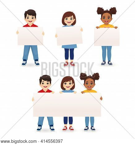 Smiling Kids Boys And Girls Holding Empty Blank Board Isolated Vector Illustration. Multiethnic Happ