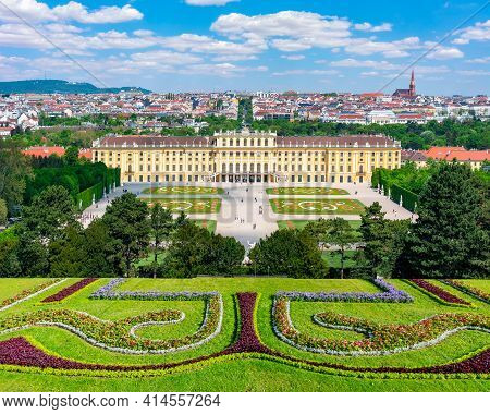 Schonbrunn Palace And Park In Spring, Vienna, Austria - April 2019