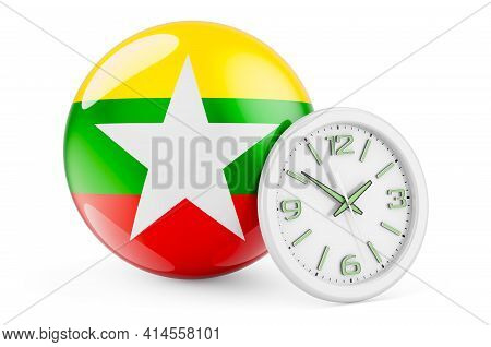 Myanmar Flag With Clock. Time In Myanmar, 3d Rendering Isolated On White Background