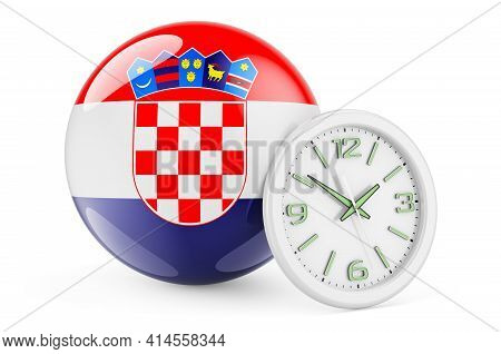Croatian Flag With Clock. Time In Croatia, 3d Rendering Isolated On White Background