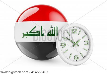 Iraqi Flag With Clock. Time In Iraq, 3d Rendering Isolated On White Background