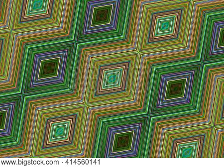 Multi Colored Background  Of Rhombuses Lying In A Chain At An Angle, Collected From Stripes Of Green