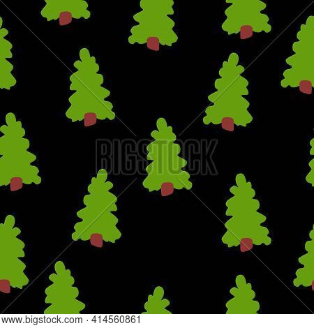 Vector Seamless Pattern With Green Fir Trees. Brown Trunk. Black Background. Cartoon Style. Spring A