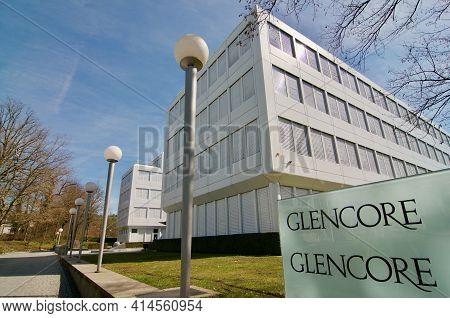 Zug, Switzerland - 26th February 2021 : Glencore Company Headquarters Building In Zug, Switzerland.