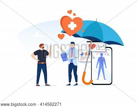 Health Insurance Concept.healthcare, Finance And Medical Service. Vector Illustration About Health I