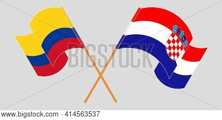 Crossed And Waving Flags Of Colombia And Croati