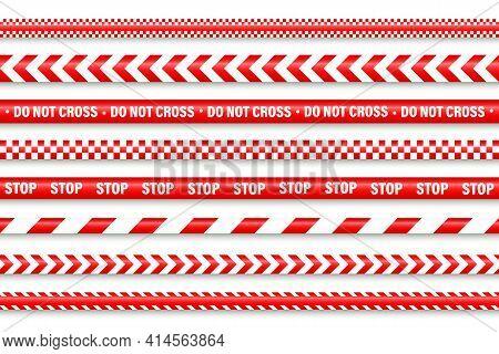Realistic Red Barricade Tape. Police Warning Line. Danger Or Hazard Stripe. Under Construction Sign.