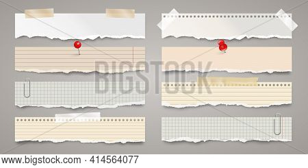 Long Ripped Paper Strips With Adhesive Tape. Realistic Crumpled Paper Scraps With Torn Edges. Lined