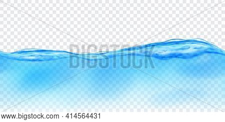 Translucent Water Wave In Light Blue Colors With Seamless Horizontal Repetition, Isolated On Transpa