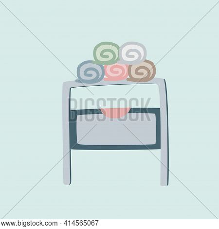 Modern Cozy Bathroom Or Spa Interior Concept With Towels. Stylish Design Vector Illustration. Bathro
