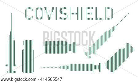 Set Of Characters For Covid And Vaccination Poster Illustration. Vector Illustration Of Covishield C