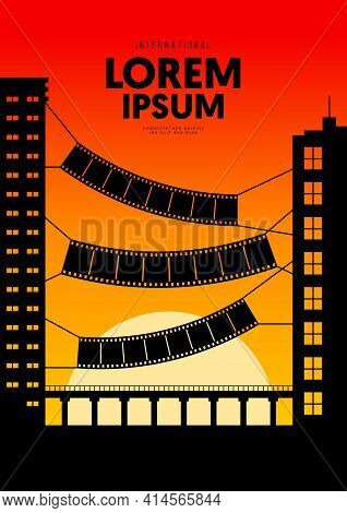 Movie And Film Poster Design Template Background With Dramatic Sunset. Design Element Can Be Used Fo