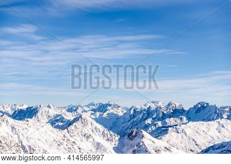 Panorama Of The Caucasus Mountains From Elbrus. Peaks Of The Sharp Mountains From The Highest Mounta