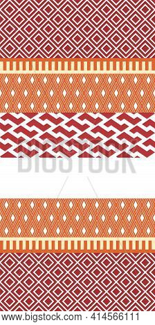 Interlocking Geometric Horizontal Stripe Of Geometric Shapes. Repeat Vector Pattern