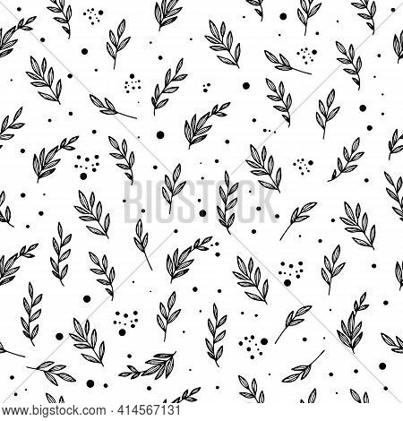 Botanical Branch Plant Pattern. Outline Hand Drawn Illustration Of Botanical Branch Plant Vector Pat