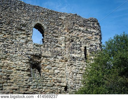 Canterbury, Kent, England - March 27 2021: Part Of The Old Canterbury Castle Ruins On 27 March 2021